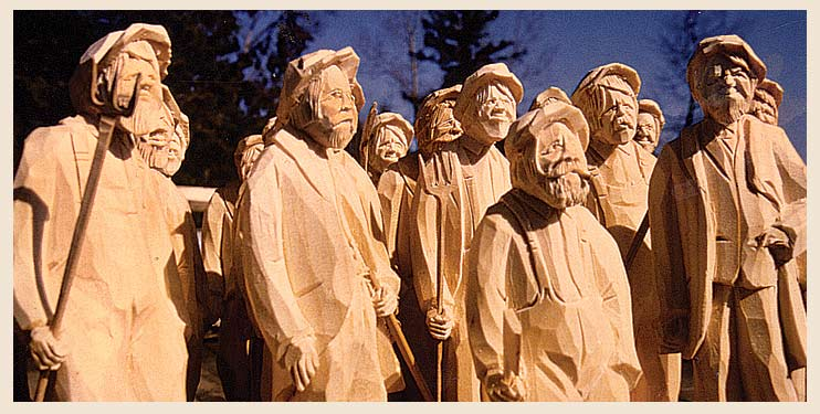 Life size wood carvings of Ottawa Valley people